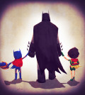 Batman with Batgirl and Robin