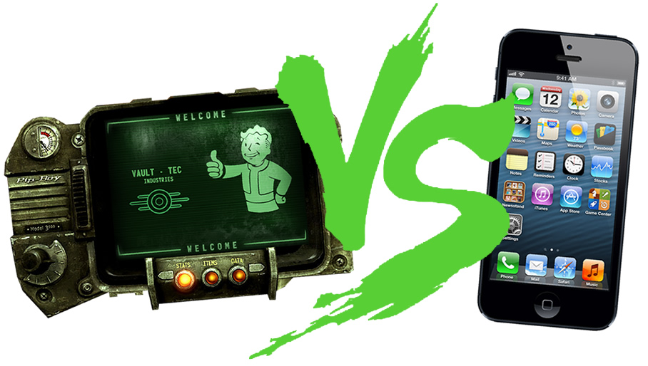 Fantasy Face/Off: Pip-Boy 3000 vs. iPhone 5