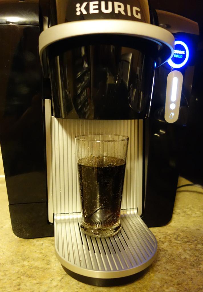Keurig KOLD Drinkmaker Finished Diet Coke in Drinkmaker Glasses