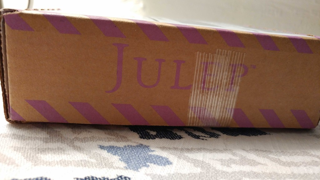 The package label was on the top of the box, so here's a side view of my Julep box.
