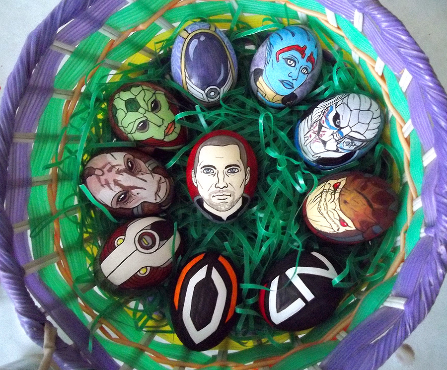 Mass Effect Eggs, Commander Sheppard, Wrex, Mordin