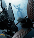 Gandalf riding away on the Great Eagle