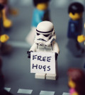 LEGO stormtrooper giving out free hugs