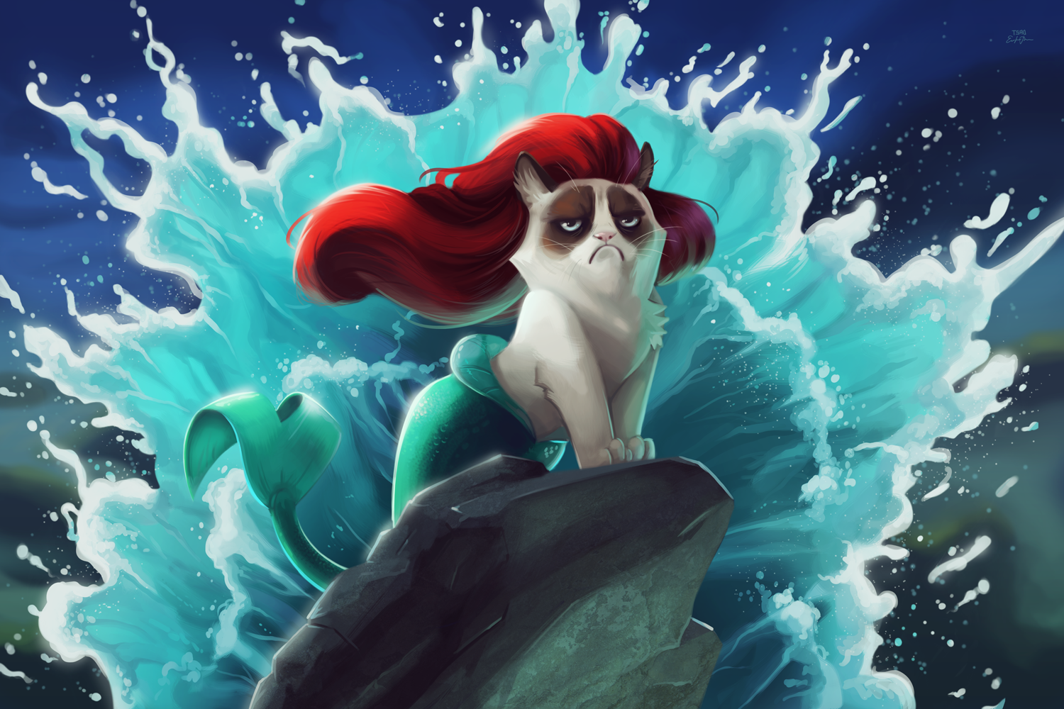 The Little Mermaid Grumpy Cat Under No