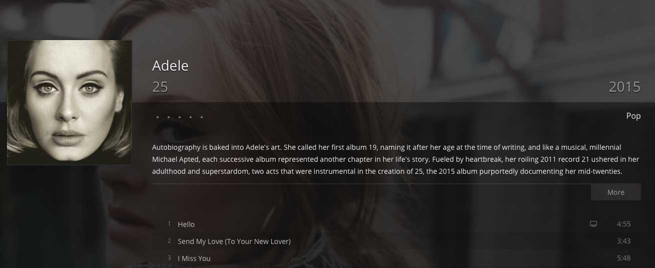 Gracenote metadata includes liner notes, reviews and upcoming concerts