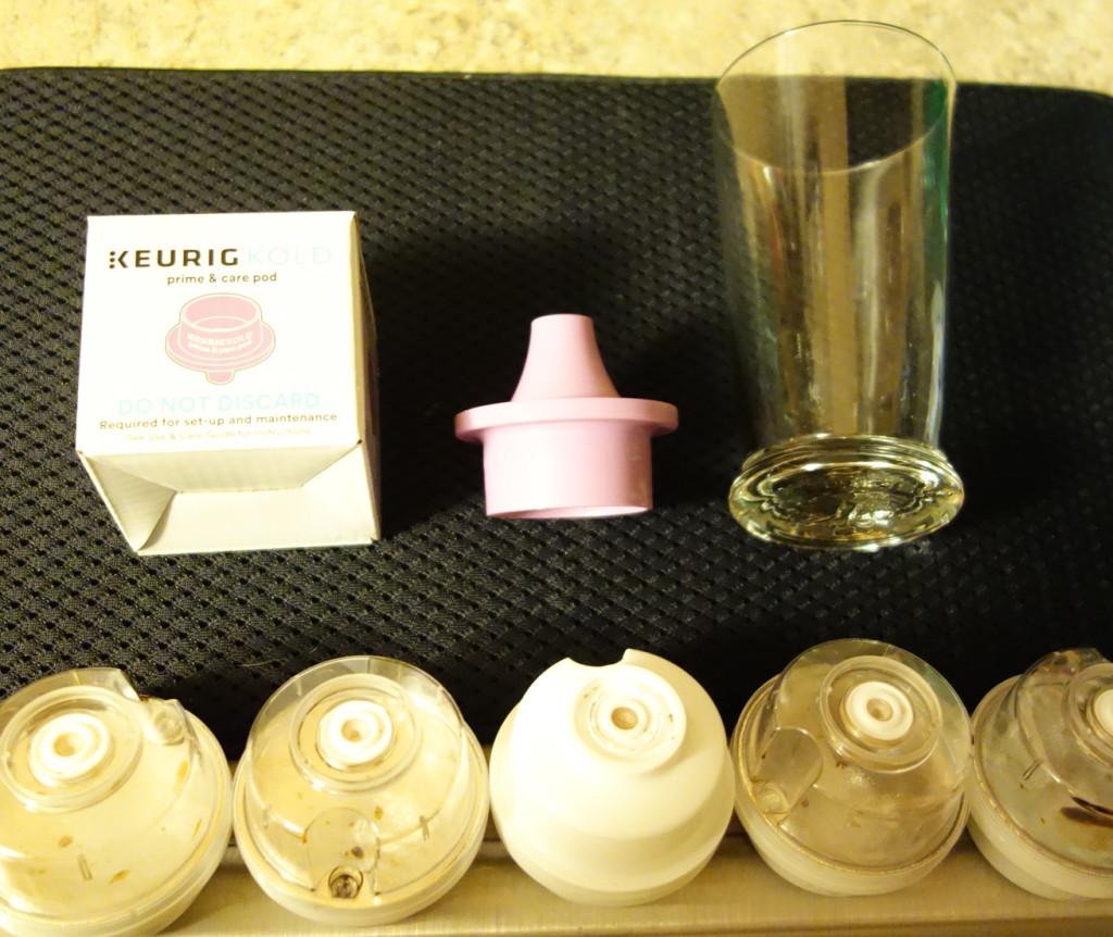 Keurig KOLD Primer Piece, Drinkmaker Glass, Used KOLD pods